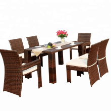 Garden rattan furniture PE wicker dining chair and table