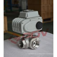3-полосном потоке Т-типа из нержавеющей стали для 24vac электрический шаровой клапан