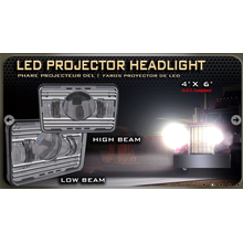 """LED Proyector de faro, 4 """"* 6"""" DOT compatible con haz de luz y haz de luz"""