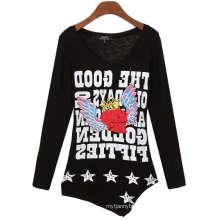 Tshirt feito sob encomenda da luva da menina da venda por atacado da impressão da tela da forma das mulheres