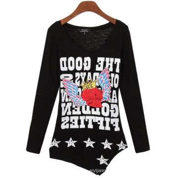 Frauen Custom Fashion Siebdruck Großhandel Mädchen Langarm-T-Shirt