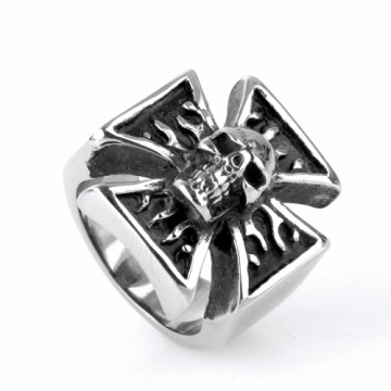 New design Titanium Steel Cross Ghost head ring