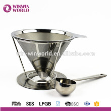 Hot Selling in Amazon Promotional Gift 18#8 Paperless Stainless Steel Pour Over Coffee Dripper and Brewer With Coffee Scoop