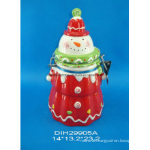Hand-Painted Ceramic Snowmen Airtight Canister