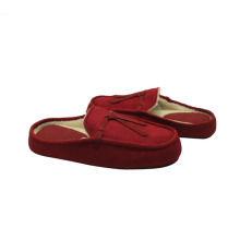 OEM for Ladies Leather Moccasins Shoes Burgundy hotel type indoor slippers supply to Vanuatu Manufacturer