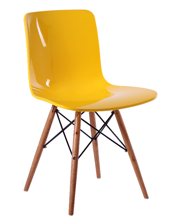plastic dining chair wood base