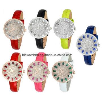 Мода кожа Кристалл часы для малого запястья