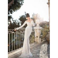 Cuello de la cucharada de la vendimia a través del corsé completamente encaje Appliqued abierto detrás sirena vestidos de boda de manga larga A080