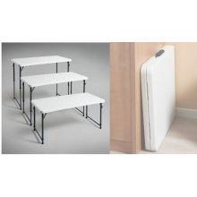 Plástico Moldeado Plástico de 4 pies Bi-Fold Mesa ajustable para uso en exteriores