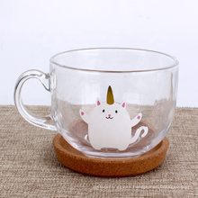 Wholesale 450ml unicorn clear glass round cup for tea coffee milk shaker mugs with handle