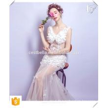 Reizvolles heißes elegantes weißes Abendkleid blumiges Abschlussballkleid weißes Meerjungfrau fishtail Kleid