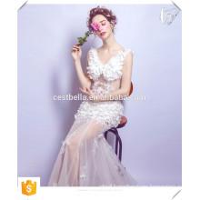 Sexy hot elegant white evening dress floral prom dress white mermaid fishtail dress