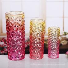 Модная цветная стеклянная ваза для цветов Ваза с кристаллами
