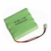 Rechargeable NiMH Battery Pack, 4.8V Rated Voltage, 500mAh Rated Capacity