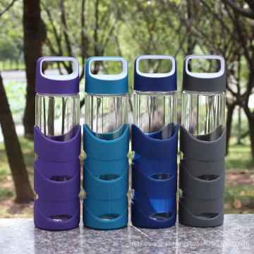 Garrafa de água portátil de vidro dos esportes 550ml