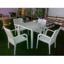 Rattan jardín al aire libre caliente moderno 4 sillas comedor conjunto de muebles