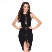 Sleeveless Bandage Dress Black Dress Split Dress