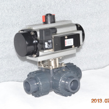 high quality plastic true union 3 way UPVC union connection airpowered ball valve