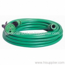 20m Pvc Reinforced Water Hose With 4-way Garden Nozzle