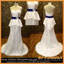 Кружева атласная свадебное платье милая вечернее платье с баской свадебные платья