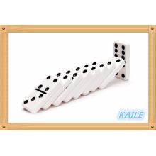 Duplo 6 pacote de dominó branco de neve em caixa de madeira