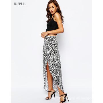Wrap Animal Print Maxi Long Skirt for Women