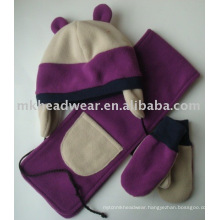 kids winter polar fleece hat scarf and gloves set