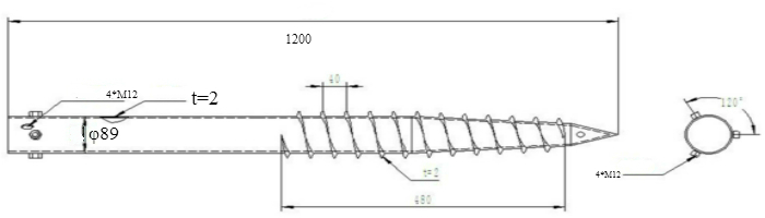 Helical Galvanized Screw Piles