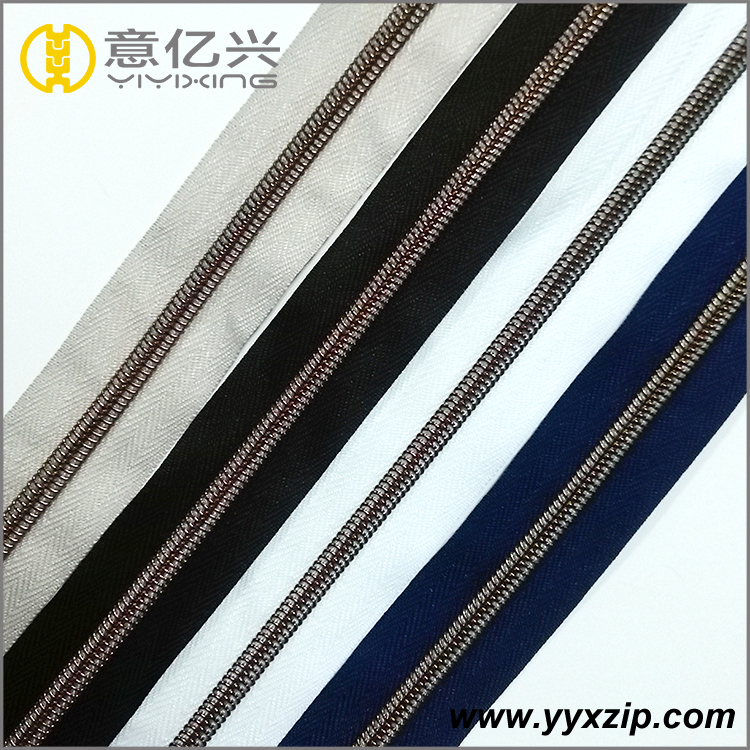 Colored Tape Antique Brass Coil Nylon Zipper