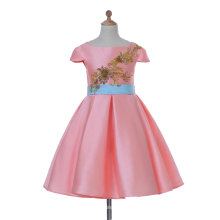 Pink Satin Flower Girl Dress for Wedding and Ceremonial