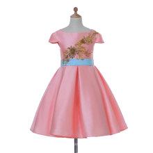 Розовый атласная цветочница платье для свадьбы и торжественных