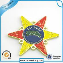 Insignia brillante del Pin de la solapa del metal de la forma de la estrella del color