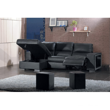 Genuine Leather Chaise Leather Sofa Electric Recliner Sofa (707)