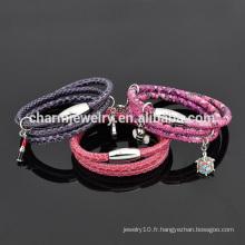 Vente en gros Custom Charming Accessoires Bracelet en cuir design avec fermoir en acier inoxydable SW-LB024