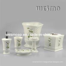 Ensemble d'accessoires de bain en porcelaine florale (WBC0588B)