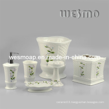 Floral Porcelain Bath Accessories Set (WBC0588B)