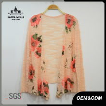 Women Orange Flower Sweater Cardigan