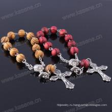 Горячие продажи 8мм Сосна Деревянные бусины Цепь Религиозный браслет с крестом