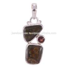 Designer Ammolite And Garnet Gemstone 925 Solid Silver Pendant Jewelry