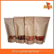 Stand Up bolsa de papel Kraft bolsa de alimentos con ventana para las semillas de chocolate / almendra / melón