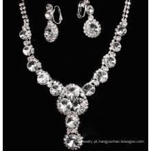 Brinco e colar de casamento Fashion Design novo conjunto bijutarias