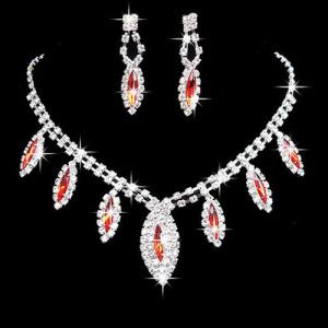 Conjuntos de collar de diamantes de cristal azul de moda