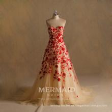 Sweetheart encaje largo vestido de noche rojo 2017