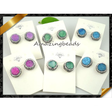 Fashion Druzy Stone Stud Crystal Earrings Jewelry (FN076)