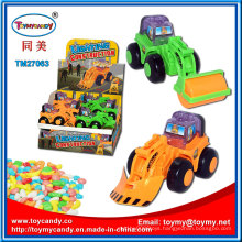 Plastic Lighting Construction Truck Toy with Candy