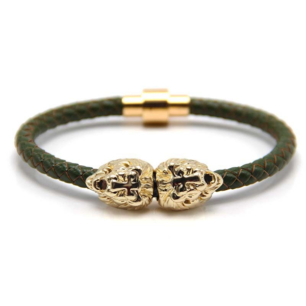 Mens Double Lion Head Magnetic Clasp Leather Bracelet