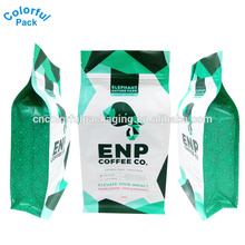 250g matte shiny plastic bag square packaging bags flat box bottom stand up aluminum foil zipper coffee bean pouch with valve