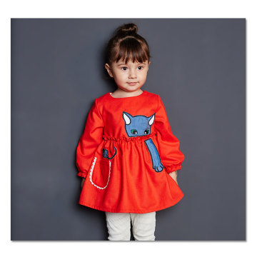 77315 Wholesale Baby Red Dress for Spring Children Clothes Girls