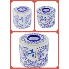 Blue & White Porcelain Plastic Round Tissue Boxes/Paper Holder (FF-5005)