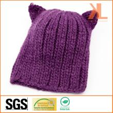 Chapeau 100% en acrylique tricoté au diable violet